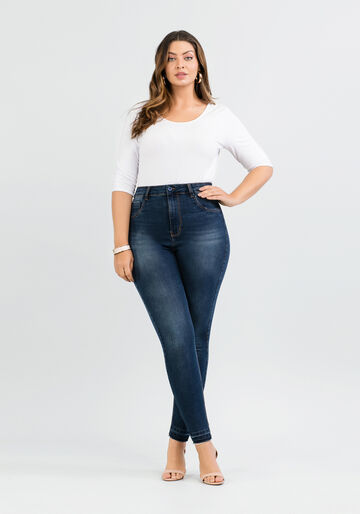 Calça Cropped Plus Size Fit For Me, JEANS ESCURO, large.
