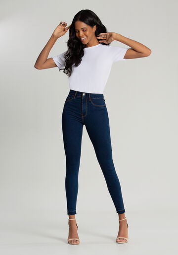 Calça Jeans Skinny Cropped Fit For Me, JEANS ESCURO, large.