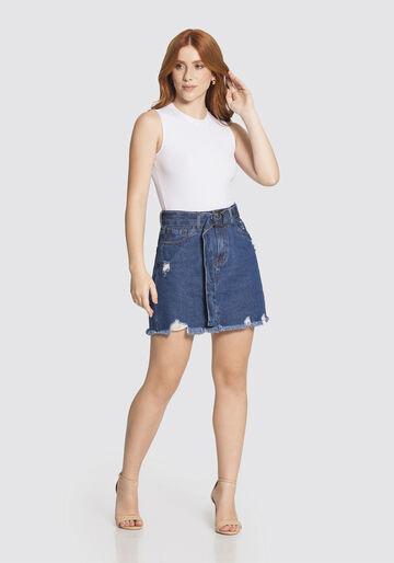Saia Jeans em LinhaA, JEANS ESCURO, large.