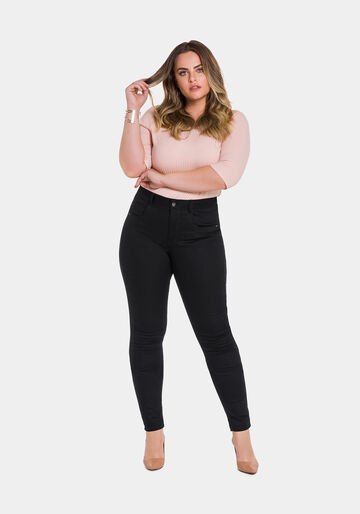 Calça Skinny Sarja Plus Size Não Desbota, PRETO REATIVO, large.