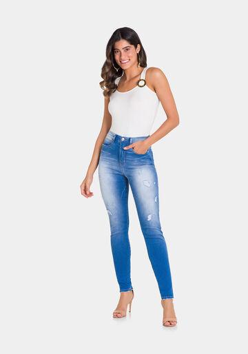 Calça Jeans Com Elastano, JEANS MEDIO, large.