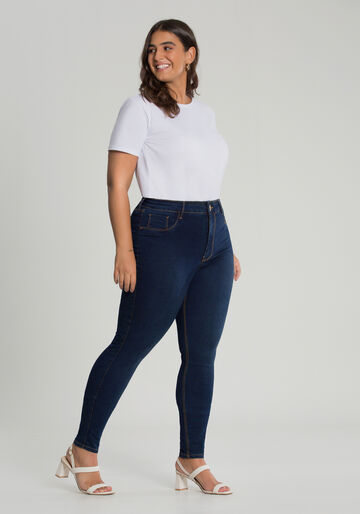 Calça Jeans Skinny Fit For Me Plus Size, JEANS ESCURO, large.