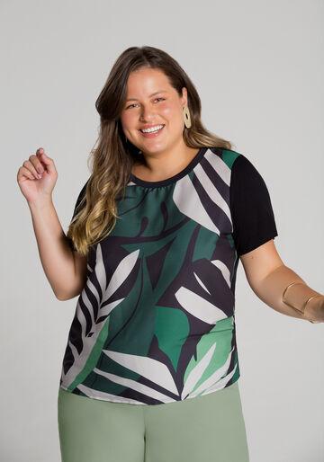 Blusa Plus Size Crepe e Malha Estampada, PRETO REATIVO, large.