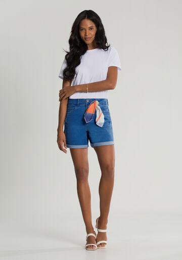 Bermuda Jeans Boyfriend com Lenço, JEANS, large.