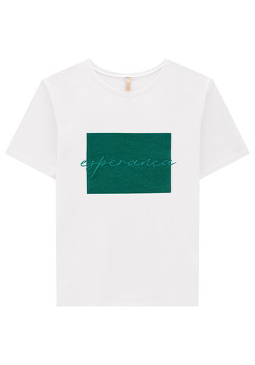 T-Shirt Meia Malha Estampa Prosperidade, VERDE GLIMMER, large.