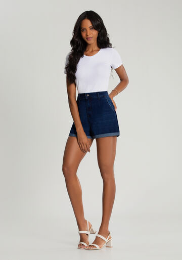 Shorts Jeans Mommy Cintura Alta, JEANS ESCURO, large.