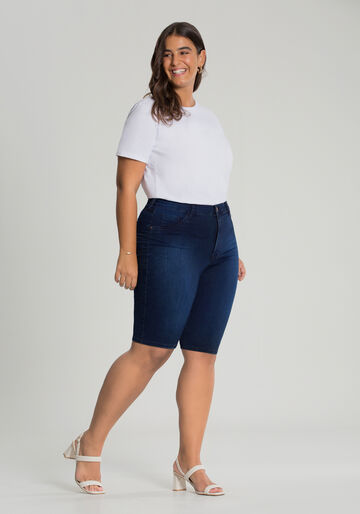 Bermuda Jeans Ciclista Fit For Me Plus Size, JEANS ESCURO, large.
