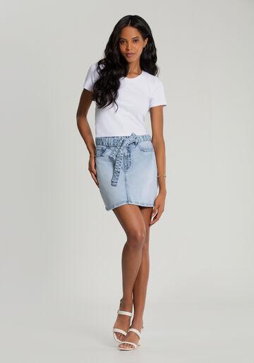 Saia Jeans em A com Cinto, JEANS, large.
