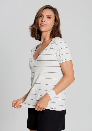 Blusa Crepe Lurex Listrada, OFF WHITE/PRETO/PRAT, large.